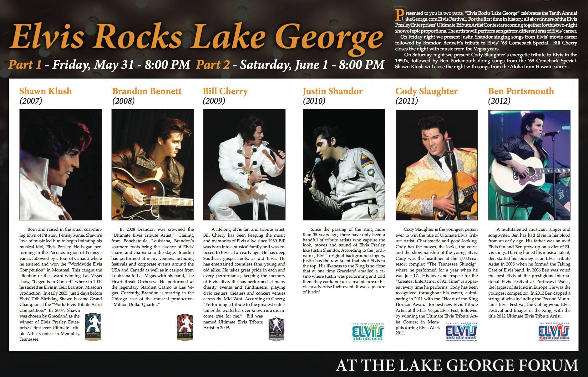 Lake George Elvis Festival Headliners