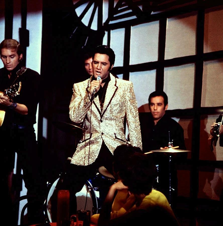 """Elvis Presley, 1968 TV special - """"Little Egypt"""" segment. (Source: link)"""