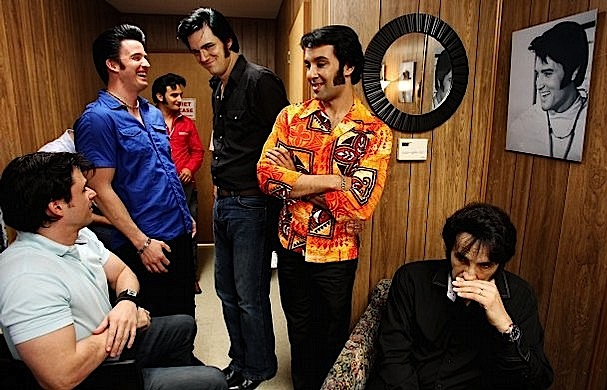 Elvis at Stax Listening Party  with Ultimate Elvis Tribute Artist Contest Semifinalists (from L to R):  Diogo Leichtweis, Rob Ely, Gordon Elvis,  Adam Fitzpatrick, Eli Williams  and Jay Zanier, August 13, 2013 (Mike Brown/The Commercial Appeal)