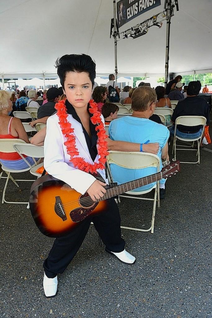 Hank Poole - 8yr old Elvis Tribute Artist at the Graceland Crossing Stage (Elvis Week 2013)