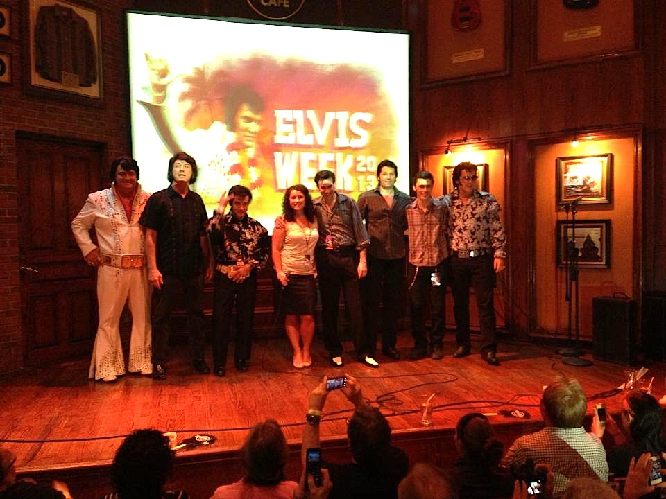 Performers at the Last Chance Ultimate Elvis Tribute Artist Contest, Hard Rock Cafe Memphis (2013 Winner Jeff Lewis shown on the left)