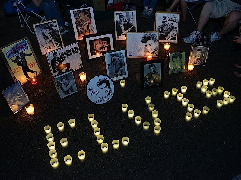 Memorial candle display created by the fans at the candlelight vigill, Graceland, Elvis Week 2013