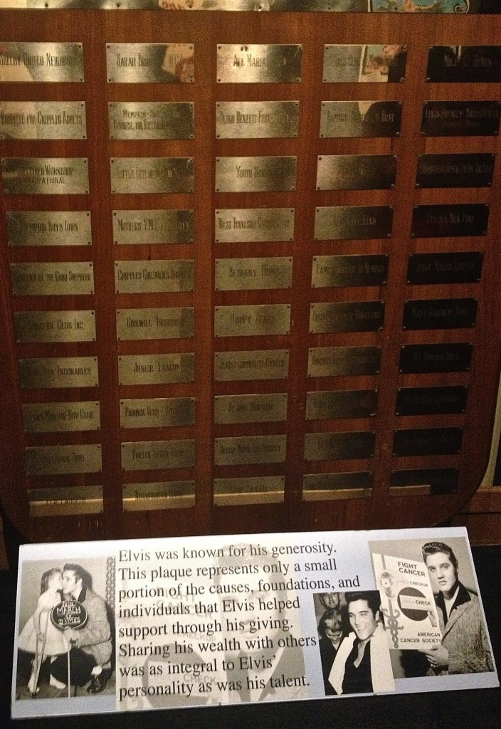Plaque at Graceland to commemorate Elvis' charitable contributions (August 2013)