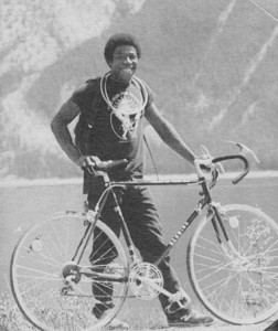 Weiferd Watts with his bicycle in Lake Tahoe.