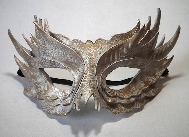 White Feather Mask in hand moulded leather. Image: http://fav.me/d53ovi2