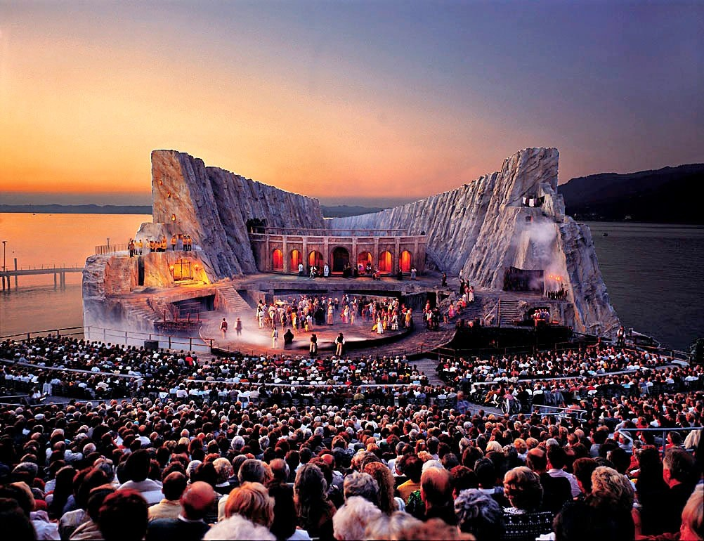 The 'Floating Stage' at Bregenz. Site of 'Opera on the Lake', Bregenz Festival in Austria (Photo by Karl Forster)