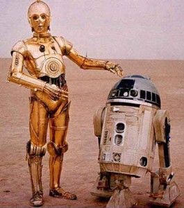 C-3PO and R2-D2 from Star Wars, 1977 Lucasfilm Ltd.