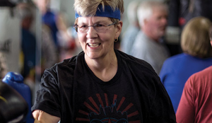 Susan Burton of Indiana can attest to the benefits of movement for Parkinson's, which may even involve boxing!! (Photo by Andrew Hancock)