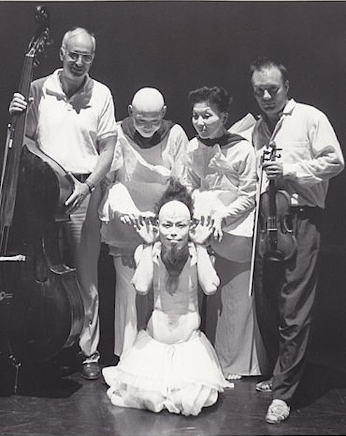 Jeffrey Levine and violinist Shem Guibbory with the Koichi and Hiroko Tamano Butoh dancers at Jacob's Pillow Dance Festival  (photo courtesy of Jeffrey Levine)