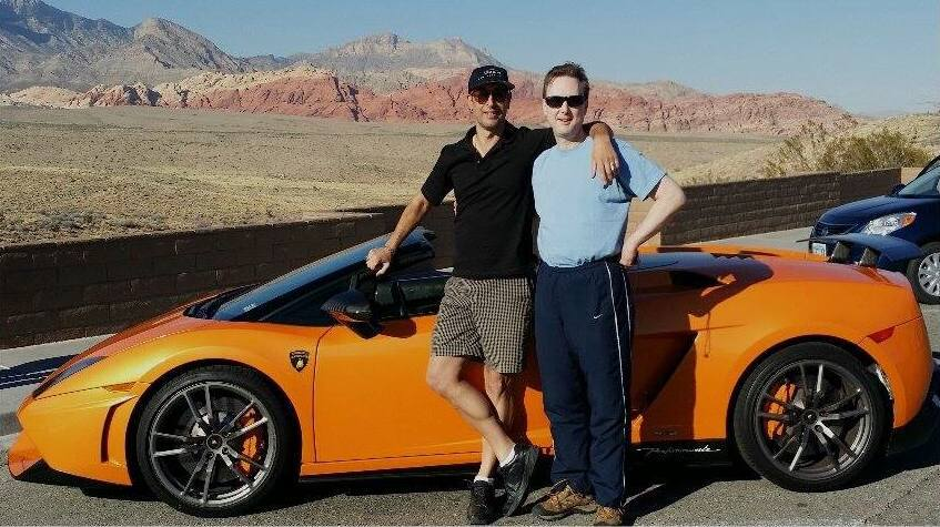 David and Keith with the Lamborghini Spyder in in Red Rock Canyon (Spring 2014)