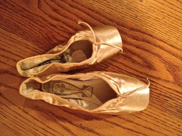 Well...no wonder!!  (Tina LeBlanc's pointe shoe next to my own larger version. Photo by DanseTrack)