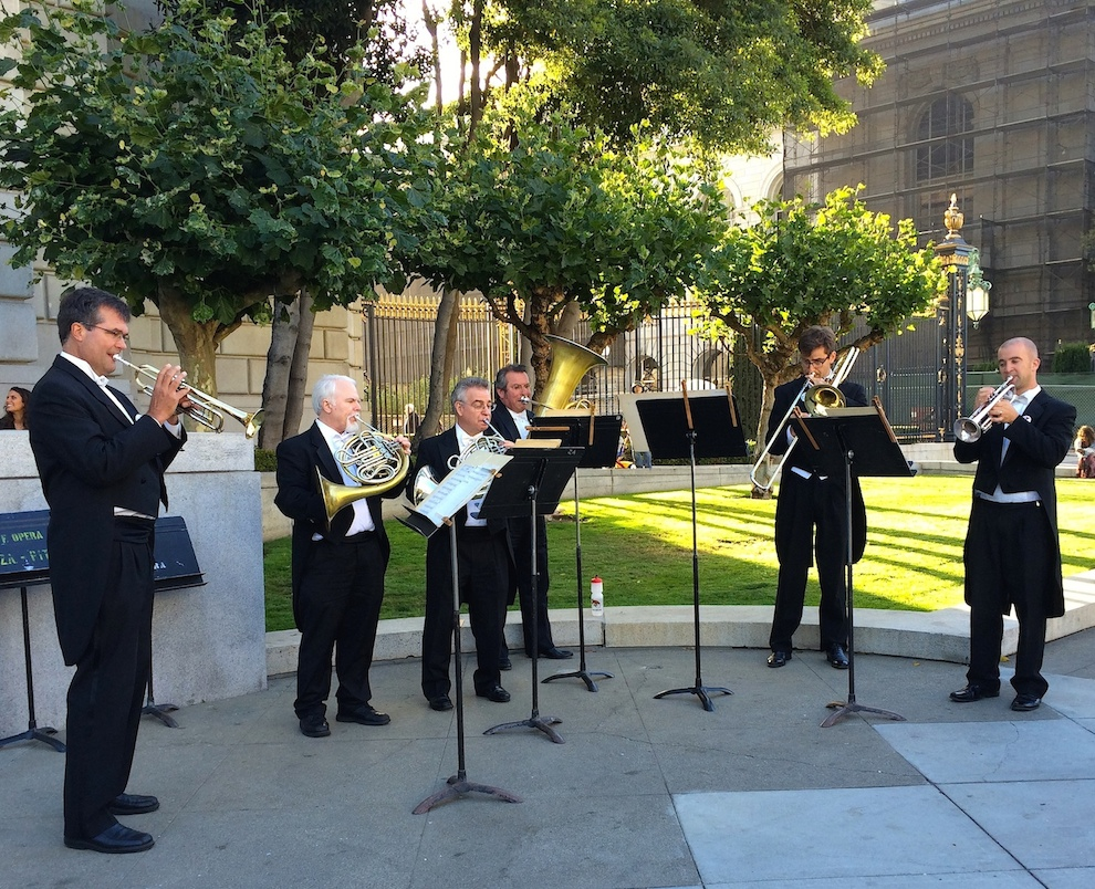 John Pearson (Trumpet), Brian McCarty (French Horn), Bill Klingelhoffer (French Horn), Zachariah Spellman (Tuba), Sam Schlosser (Trombone), Adam Luftman (Trumpet) -  Photo: Musicians of the San Francisco Opera Orchestra, San Francisco War Memorial Opera House, July 2014